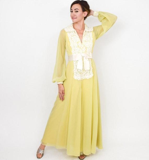 Luis Estevez | 1970s Yellow Palazzo Evening Dress… - image 4