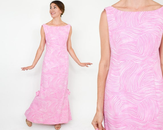 1980s Pink Maxi Dress | 80s Pink Cotton Maxi Dress