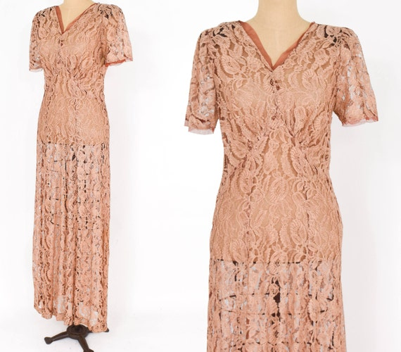 1930s Peach Lace Dress | 30s Copper Floral Lace Ev