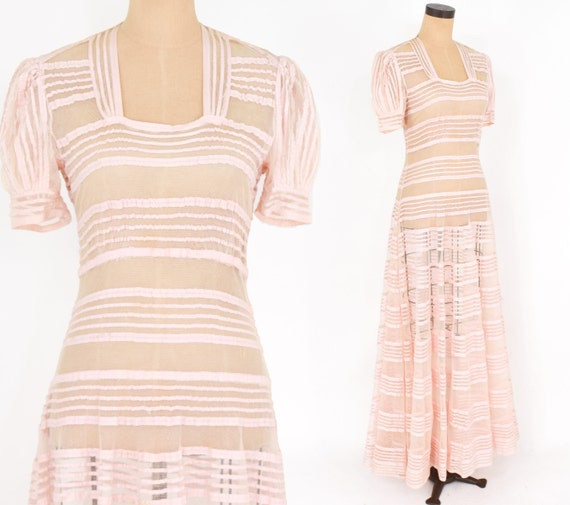 1930s Pink Evening Gown | 30s Pink Striped Tulle E