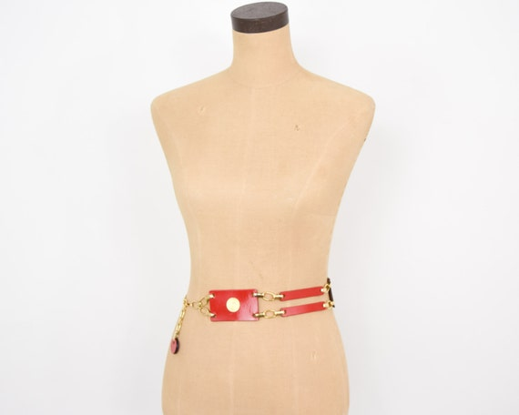 1950s Red Leather Belt   50s Red Leather Rectangl… - image 3