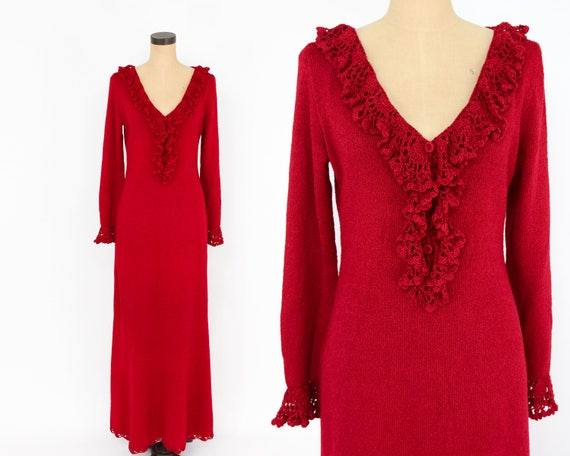 1970s Red Knit Maxi Dress | 70s Red Knit Ruffle Ma