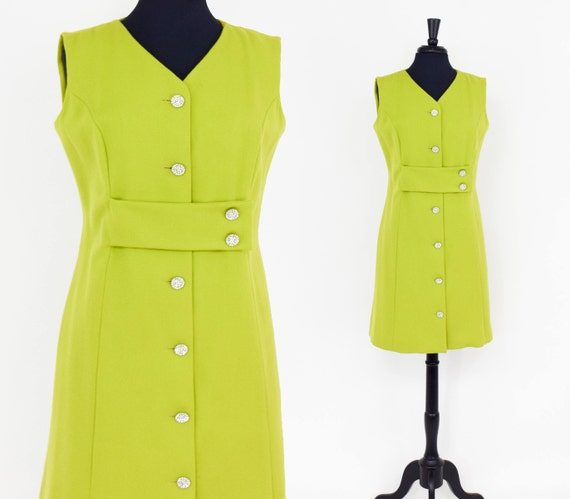 1960s Lime Green Dress   60s Chartreuse Wool Shift