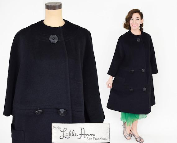 1950s Lilli Ann Black Wool Swing Coat | 50s Black