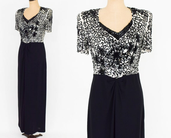 1940s Black Sequin Evening Dress | 40s Black Crepe