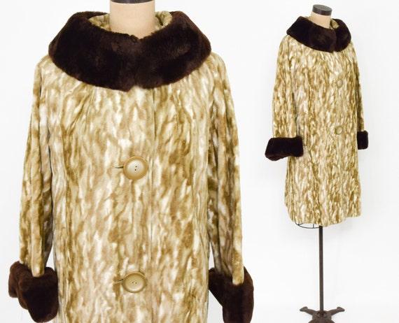 1960s Animal Print  Faux Fur Coat | 60s Brown Faux
