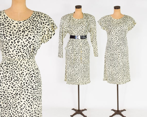 1980s Leopard Print Set | 80s Animal Print Cotton