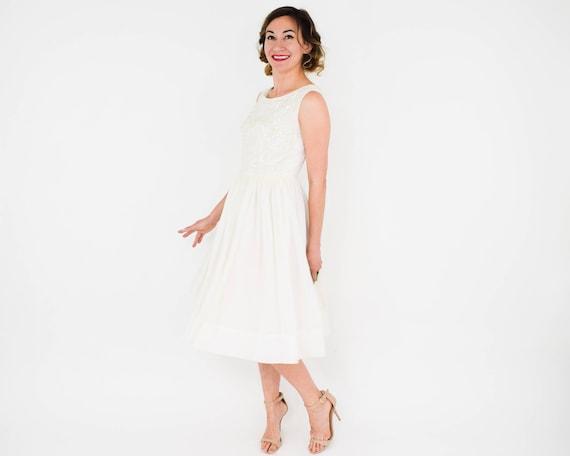 1950s White Chiffon Party Dress   50s White & Seq… - image 4