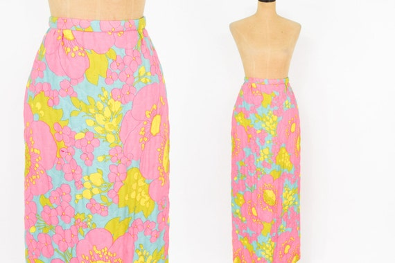 70s Pink Maxi Skirt | Psychedelic Maxi Skirt | Qui