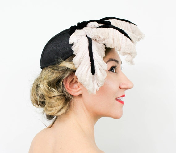 1940s Black Fascinator Hat | 40s Black & Pink Fasc