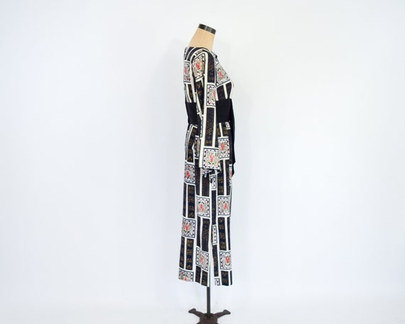 1960s Black & White Asian Design  Dress | 60s Bla… - image 8