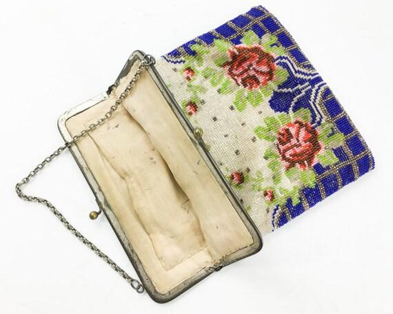 1900s Red Roses Beaded Handbag | Blue & Red Beade… - image 5