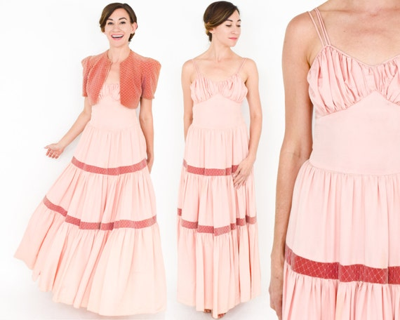 1940s Peach Evening Dress & Jacket | 40s Peach Taf