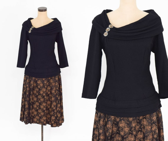 1940s Black Jersey Brocade Dress | 40s Black Jerse