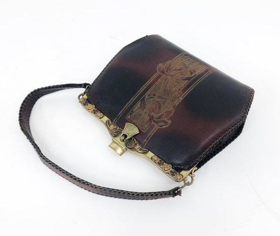 1910s Brown Tooled Leather Bag | 1900 Brown Tooled