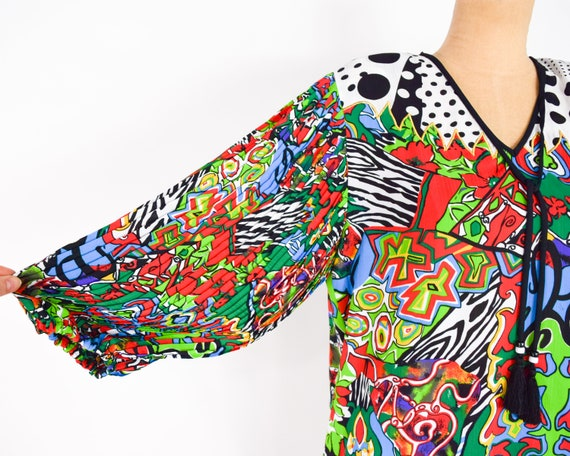 1980s Colorful Diane Freis Blouse & Skirt | 80s O… - image 3