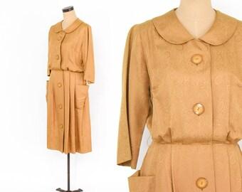 50s Gold Silk Dress | Shirtwaist Dress | George Hess | Large