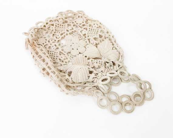 1900s Creme Crochet Handbag | Crochet Purse