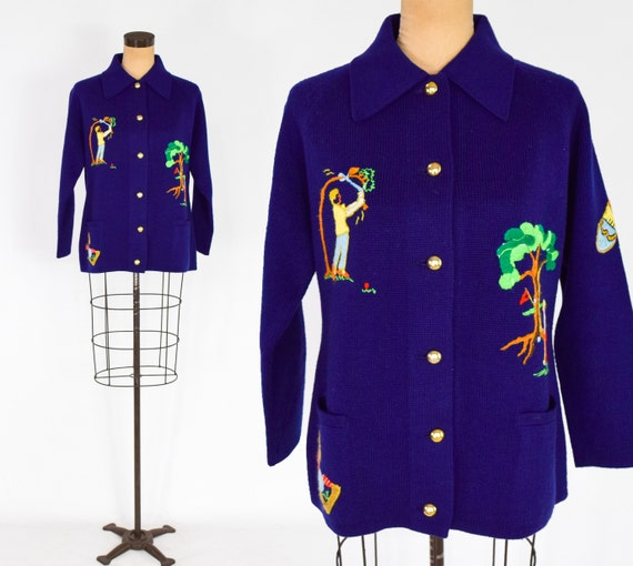 1960s Navy Golf Cardigan Sweater | 60s Navy Blue G