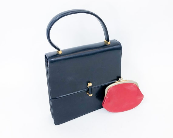 1980s Navy Leather Handbag | 80s Navy & Red Leathe