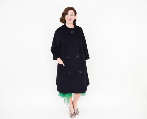 Lilli Ann | 1950s Black Wool Swing Coat | 50s Bla… - image 3