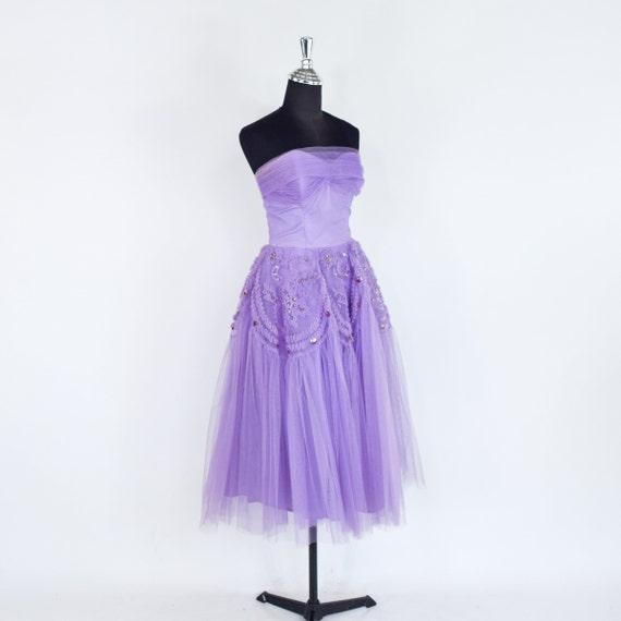 1940s Lavender Tulle Party Dress   40s Purple Tul… - image 5