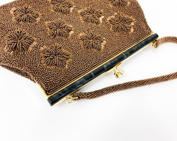 1960s Brown Beaded Evening Bag |60s Bronze Floral… - image 3