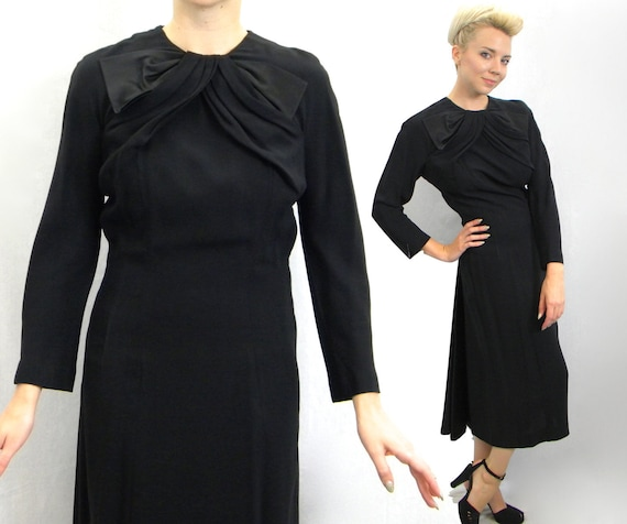 1940s Black Crepe Dress | 40s Black Crepe & Satin