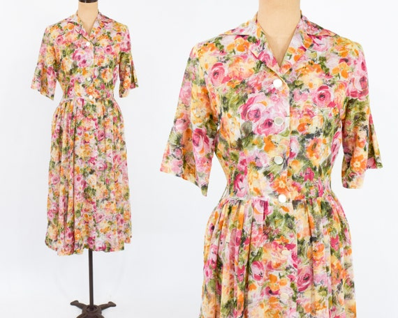 1950s Orange Sheer Cotton Floral Dress | 50s Orang