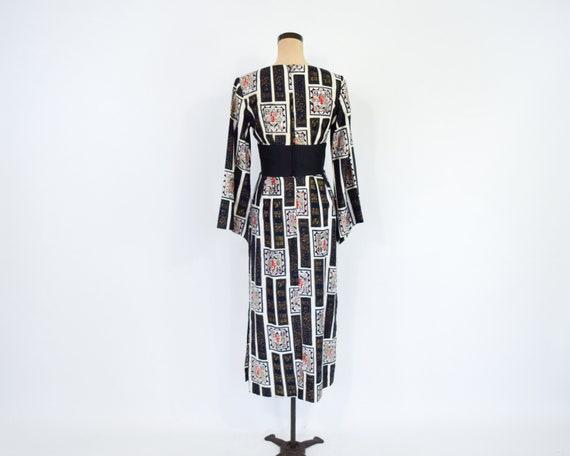 1960s Black & White Asian Design  Dress | 60s Bla… - image 6