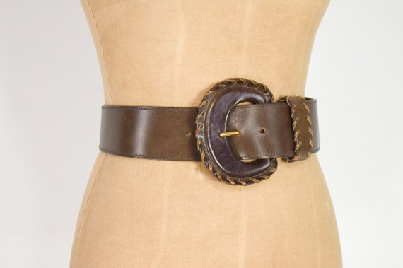 1980s Brown Wide Leather Belt | 80s Brown Leather