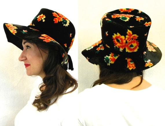 1970s Black Flower Floppy Hat   70s Black & Orange
