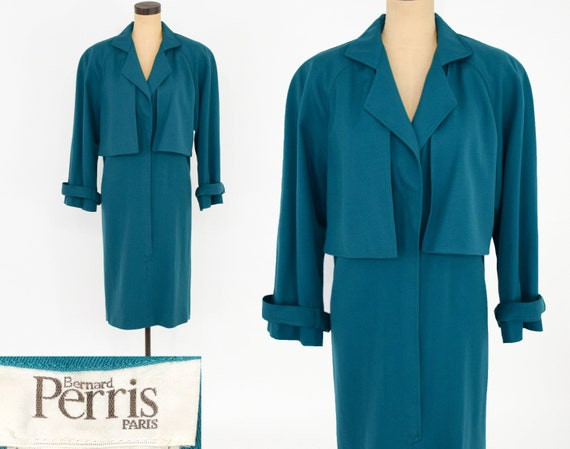 1980s Blue Wool Gabardine Dress | 80s Aqua Wool Ga
