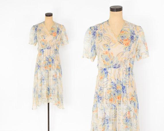 1920s Creme Flowered Silk Chiffon Dress | 20s Flo… - image 2