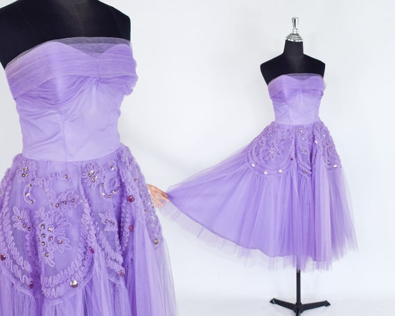 1940s Lavender Tulle Party Dress   40s Purple Tul… - image 2