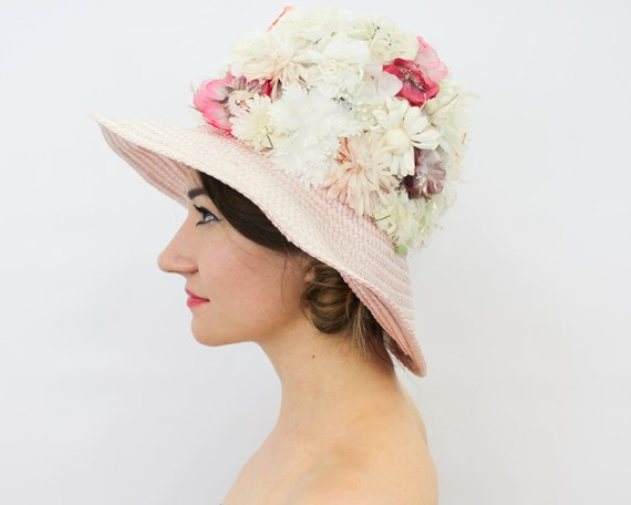1960s Pink Flower Straw Hat | 60s Wide Brim Pink F