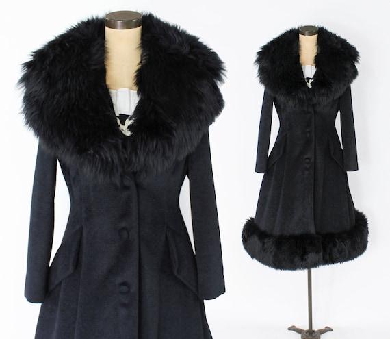 1960s Black Wool Princess Coat | 60s Black Fur Tri