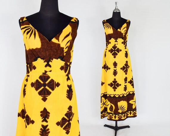 1960s Yellow Tiki Maxi Dress | 60s Yellow & Brown