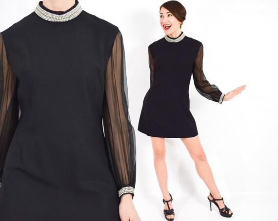 201e3085f2 60s Black Mini Dress