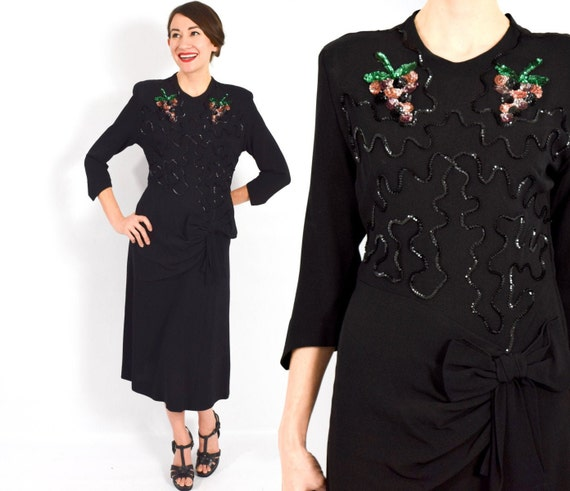 1940s Black Crepe Dress | 40s Black Sequin Crepe D