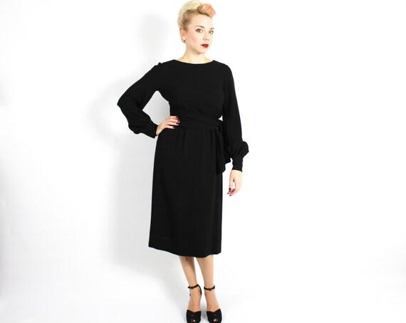 1960s Black Crepe Evening Dress | 60s Black Crepe… - image 4