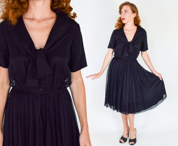 1950s Black Chiffon Dress | 50s Black Chiffon Part
