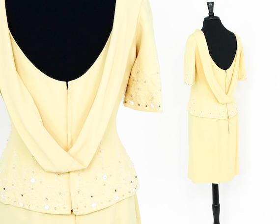 1950s Yellow Evening Dress Set | 50s Rhinestone Be