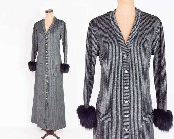 1970s Silver Metallic Knit Maxi Dress   70s Gray M