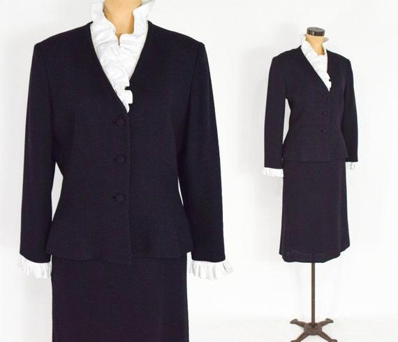 Lilli Ann | 1970s Black Wool Crepe Suit | 70s Bla… - image 1