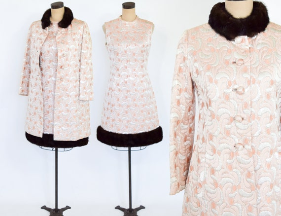 1960s Pink Metallic Brocade Evening Dress Set | 60