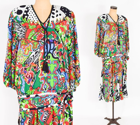 1980s Colorful Diane Freis Blouse & Skirt | 80s O… - image 4