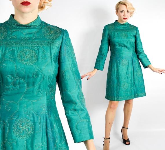 1960s Emerald Green Shift Dress | 60s Green Quilte