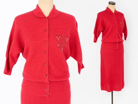 1950s Red Knit Sweater Skirt Set | 50s Red Wool Bo