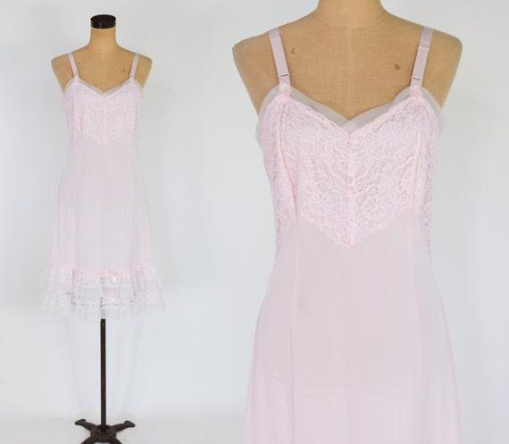1950s Pink Full Slip | 50s Pale Pink Ruffled Slip